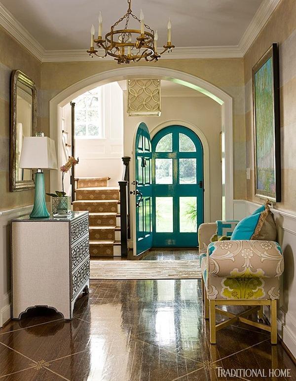 Turquoise arch door