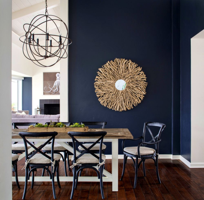 Farmhouse-blue-dining-room-with-chandelier