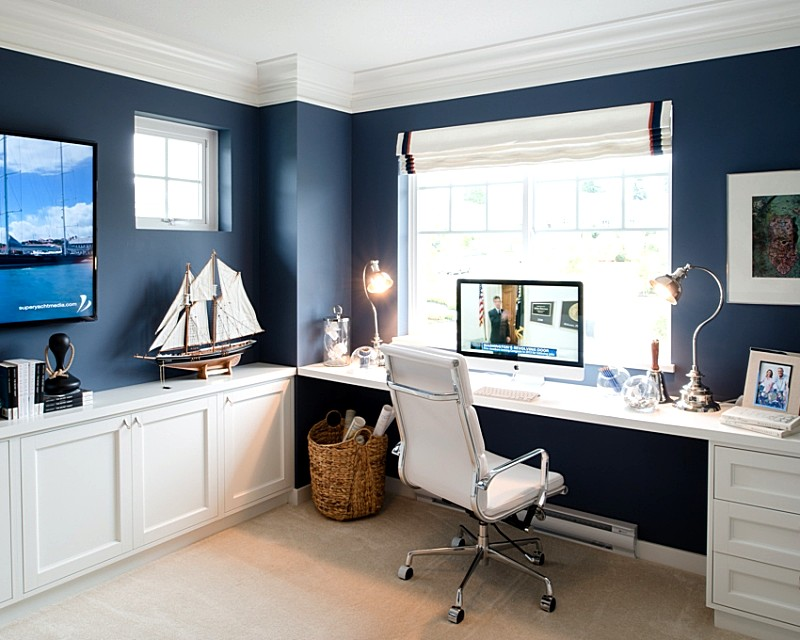 Home-Office-Ideas-Blue-Walls-with-White-Furnitures