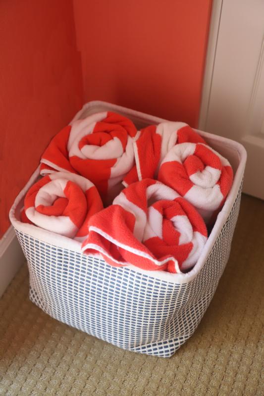 Basket of striped towels