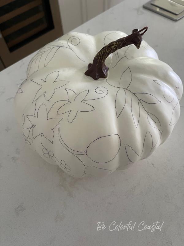 Florida pumpkin with drawing