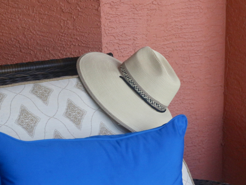 Hat on chaise