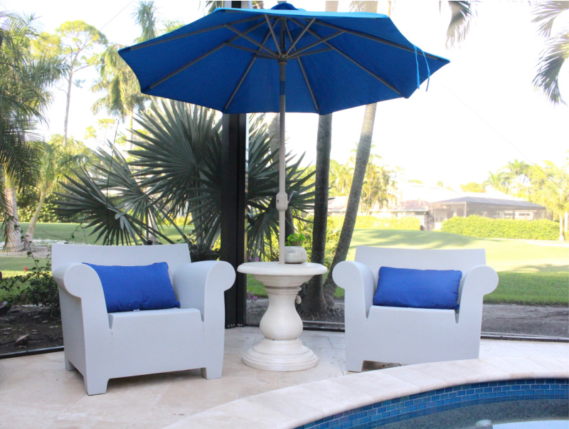 Bubble chairs and open umbrella