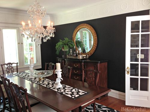 The Becolorful Home Black Dining Room Round Mirror Jpg