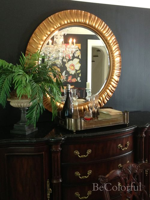Dining room black with round mirror from left.jpg
